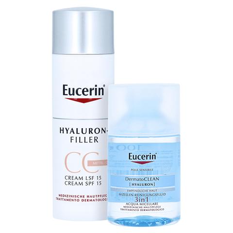 Eucerin Hyaluron-Filler CC Cream Mittel + gratis Eucerin Dermatoclean Mizellen-Reinigung 100ml 50 Milliliter