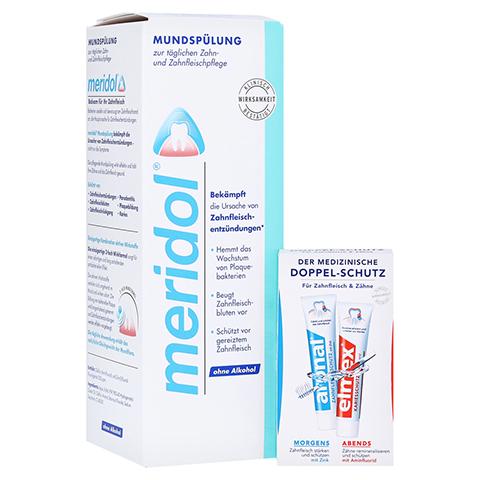 MERIDOL Mundspül Lösung + gratis MINI DOPPELSCHUTZ Zahnpasta 400 Milliliter