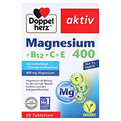 DOPPELHERZ Magnesium 400+B12+C+E Tabletten 30 Stück - Vorderseite
