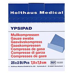 Mullkompressen Ypsipad 7,5x7,5 cm steril 8fach 25x2 Stück - Vorderseite