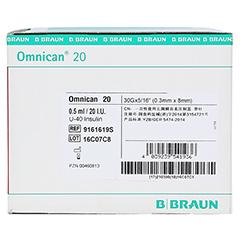 OMNICAN Insulinspr.0,5 ml U40 m.Kan.0,30x8 mm ein. 100x1 Stück - Rechte Seite