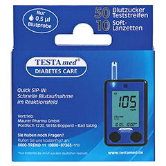 Testamed Glucocheck Advance 50 Teststreifen mit 10 Lanzetten 1 Packung - Rückseite