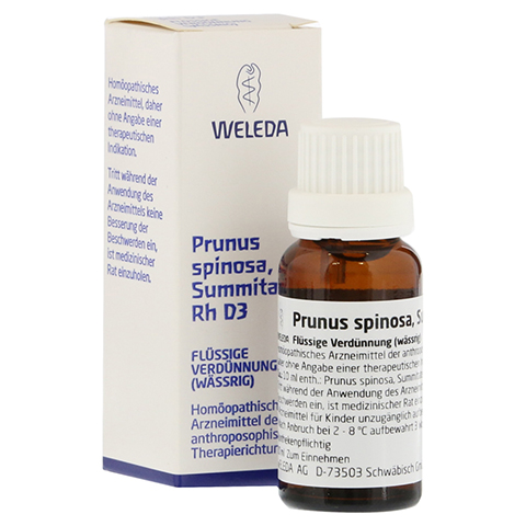 PRUNUS SPINOSA SUMMITATES Rh D 3 Dilution 20 Milliliter N1