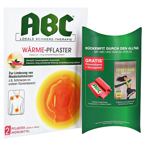 ABC Wärme-Pflaster Capsicum 11mg Hansaplast med + gratis Fitnessband + Buch 2 Stück