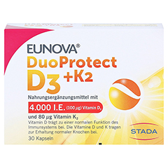 Eunova Duoprotect D3+k2 4000 I.E./80 µg Kapseln 30 Stück - Vorderseite