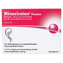 MINOXICUTAN Frauen 20 mg/ml Spray 3x60 Milliliter - Vorderseite