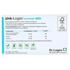 ZINK-LOGES concept 15 mg magensaftres.Kapseln 30 Stück - Rückseite