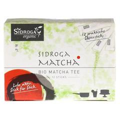 SIDROGA organic Matcha Tee Sticks 12 Stück - Vorderseite