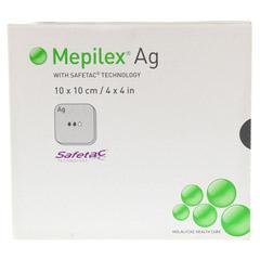 MEPILEX Ag Schaumverband 10x10 cm steril 5 Stück - Vorderseite