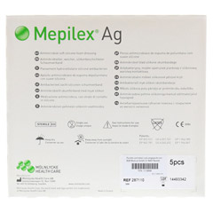 MEPILEX Ag Schaumverband 10x10 cm steril 5 Stück - Rückseite