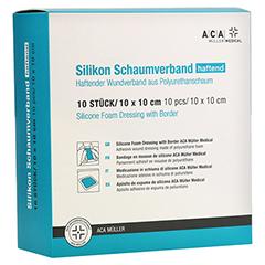SILIKON SCHAUMVERBAND haftend 10x10 cm ACA Müller 10 Stück