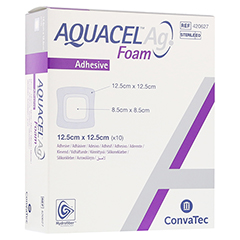 AQUACEL Ag Foam adhäsiv 12,5x12,5 cm Verband 10 Stück
