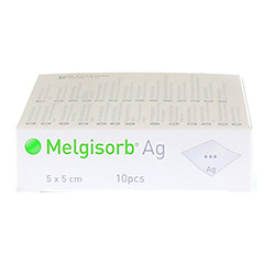 MELGISORB Ag Verband 5x5 cm 10 Stück - Rechte Seite