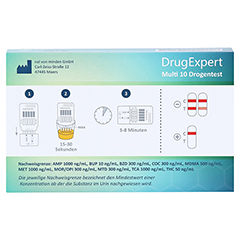 DRUGEXPERT 10 Drogentest:10 Parameter 1 Stück - Rückseite
