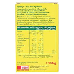 Apoday Holunder Zink Vitamin C ohne Zuckerzusatz 10x10 Gramm - Rückseite
