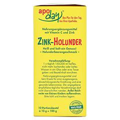 Apoday Holunder Zink Vitamin C ohne Zuckerzusatz 10x10 Gramm - Rechte Seite