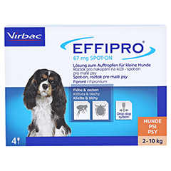 EFFIPRO 67 mg Pip.Lsg.z.Auftropf.f.kl.Hunde 4 Stück - Vorderseite