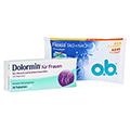 Dolormin für Frauen mit Naproxen + gratis O.B. Flexia Tag+Nacht Probe 30 Stück N1
