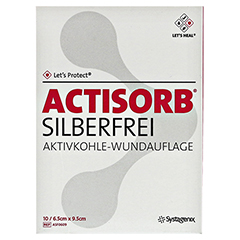 ACTISORB SILBERFREI 6,5x9,5 cm Kompressen 10 Stück - Vorderseite