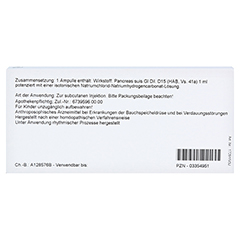 PANCREAS GL D 15 Ampullen 10x1 Milliliter N1 - Rückseite