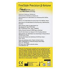 FREESTYLE Precision Beta Ketone Blutketon Teststr. 10 Stück - Rückseite