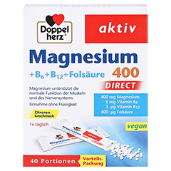 DOPPELHERZ Magnesium+B Vitamine DIRECT Pellets 40 Stück - Vorderseite