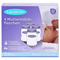 LANSINOH Muttermilchflaschen 160 ml Weithals 4 Stück - Vorderseite