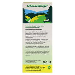 ZWIEBELSAFT naturrein Schoenenberger 200 Milliliter - Rückseite