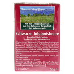 RICOLA o.Z. Box Schwarze Johannisbeere Bonbons 50 Gramm - Rückseite