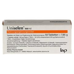 UNISELEN 100 NE Tabletten 1x50 Stück - Rückseite