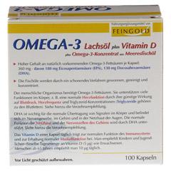 OMEGA-3 Lachsöl plus Vit.D plus Omega3 Konz.Kps. 100 Stück - Rückseite