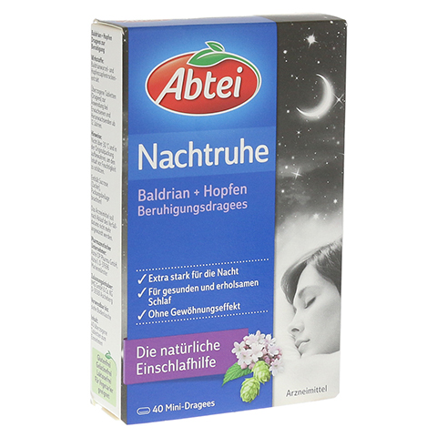 ABTEI Nachtruhe (Baldrian + Hopfen Beruhigungsdragees) 40 Stück