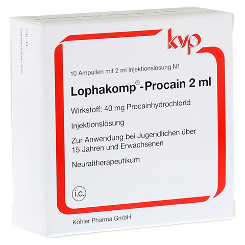 LOPHAKOMP Procain 2 ml Injektionslösung 10x2 Milliliter N1