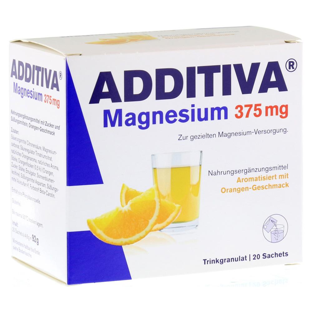 erfahrungen zu additiva magnesium 375 mg granulat orange 20 st ck medpex versandapotheke. Black Bedroom Furniture Sets. Home Design Ideas