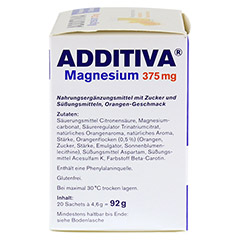 ADDITIVA Magnesium 375 mg Granulat Orange 20 Stück - Linke Seite