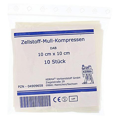 ZELLSTOFF MULLKOMPRESSEN 10x10 cm unsteril 10 Stück