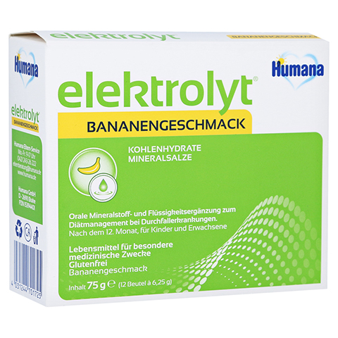 HUMANA Elektrolyt Banane Pulver Faltschachtel 75 Gramm