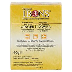 IBONS Mango Ingwerkaubonbons Orig.Schachtel 60 Gramm - Rückseite