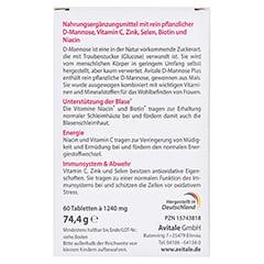 D-MANNOSE PLUS 2000 mg Tabl.m.Vit.u.Mineralstof. 60 Stück - Rückseite