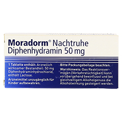 Moradorm Nachtruhe Diphenhydramin 50mg 20 Stück N2 - Rückseite