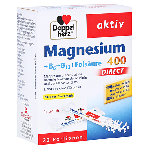 Doppelherz aktiv Magnesium 400 + B6 + B12 + Folsäure Direkt 20 Stück