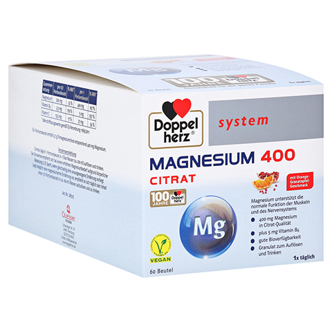 DOPPELHERZ Magnesium 400 Citrat system Granulat 60 Stück