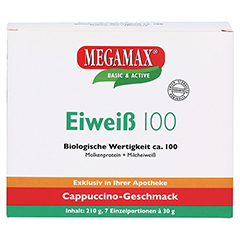 EIWEISS 100 Cappuccino Megamax Pulver 7x30 Gramm - Vorderseite