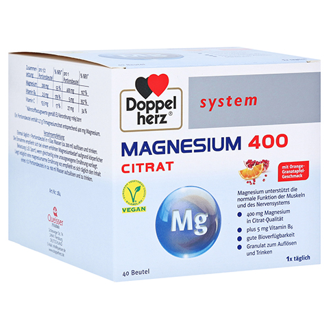 DOPPELHERZ Magnesium 400 Citrat system Granulat 40 Stück