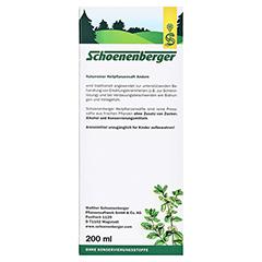 Andorn naturreiner Heilpflanzensaft Schoenenberger 200 Milliliter - Rückseite
