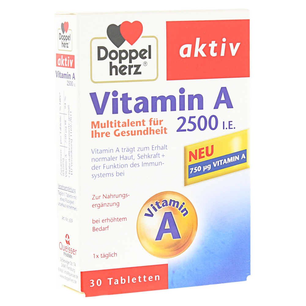 doppelherz vitamin a 2500 i e tabletten 30 st ck online. Black Bedroom Furniture Sets. Home Design Ideas