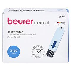 BEURER GL40 Blutzuckerteststreifen 100 Stück - Vorderseite
