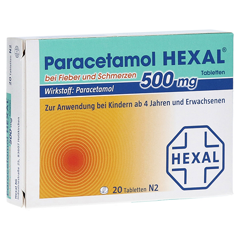 Paracetamol 500mg HEXAL bei Fieber und Schmerzen 20 St�ck N2