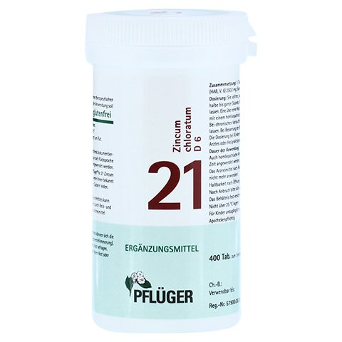 BIOCHEMIE Pfl�ger 21 Zincum chloratum D 6 Tabl. 400 St�ck N3