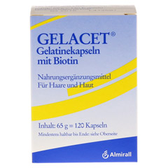 GELACET Gelatinekapseln mit Biotin 120 Stück - Vorderseite